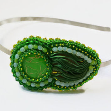 Bead embroidered , beaded Headband with shibori silk, seed beads and glass beads. Headband Jewel Beaded Hair Accessory Womens Hair