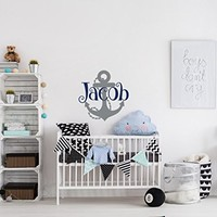 Anchor Name Wall Decal Boy - Custom Name Wall Decal - Personalized Nautical Name Decal - Underwater Wall Decal - Nautical Themed Nursery