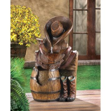 Western Saddle And Barrel Outdoor Water Fountain | SAVE $50!