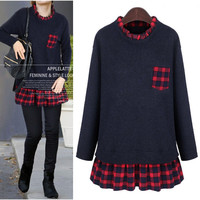 Patchwork Plus Size Long Sleeve T-shirts Women's Fashion Plaid Bottoming Shirt [9371065671]