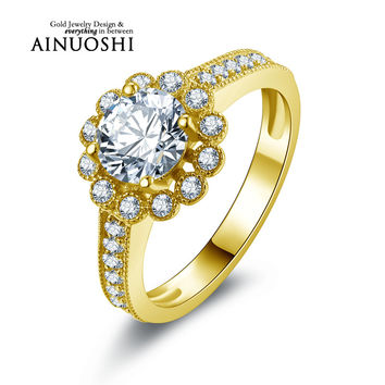 AINUOSHI 10k Solid Yellow Gold Wedding Ring 1 ct Round Cut CZ Engagement Fine Jewelry Customized Flower Shape Women Wedding Ring