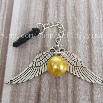 golden snitch dust proof plug, wings dust proof plug,harry potter charms for iphone 5 4s 4, 3.5mm dust proof plug for Samsung Blackberry HTC