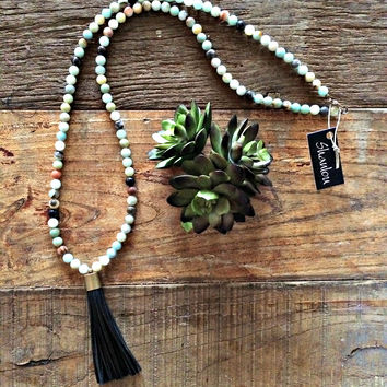 Black Leather Tassel Shanlou Necklace