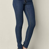 Faux Leather Lace Up Jeans in Dark Wash | VENUS