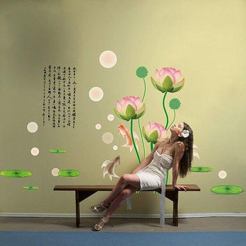 Quality Chinese Style Calligraphy Lotus Pattern Removeable Wall Stickers