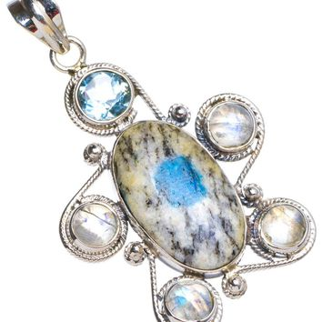 """Natural Blue Azurite and Rainbow Moonstone Handmade Unique 925 Sterling Silver Pendant 1.75"""" X0012"""