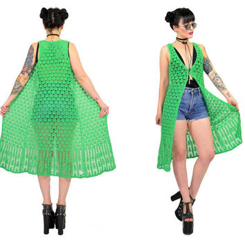 vintage 90s green crochet vest ultra draped duster macrame lime boho hippie gypsy jacket shirt top XS small
