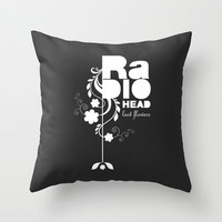 Radiohead song - Last flowers illustration white Throw Pillow by LilaVert