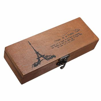 Retro Eiffel Tower Pen Pencil Case Holder Stationery Storage Wood Wooden Box