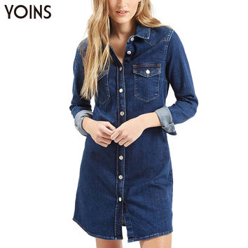 YOINS Retro Denim Lapel Single Breasted Shirt Dress Women Casual Long Sleeve Button Jeans Vestidos Femininos Camisas Tops Blouse