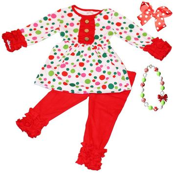 Red Polka Dot Outfit Green Pink Ruffle Top And Pants