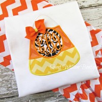 Girl's Candy Corn Shirt With Monogram - personalized halloween shirt