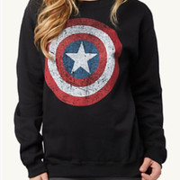 Black Captain America Print Sweater