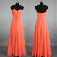 Sweetheart Long Cheap Chiffon Bridesmaid Dresses Prom Dresses Formal Party Evening Dresses Wedding Events 2014