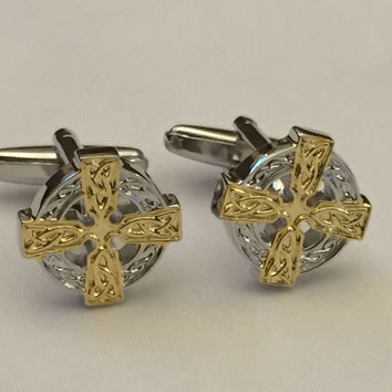 Celtic Cross Cufflinks, Cross Cufflinks, Two Tone Celtic Cufflinks, Wedding Cuff Links, Father's Day Cuff Links, Graduation Gift