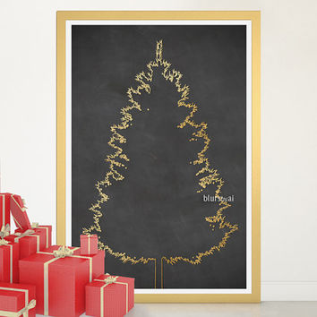 "Christmas tree alternative, Gold Christmas tree print, large printable poster, 20x30"" printable decor, diy christmas tree pinboard - cta003"