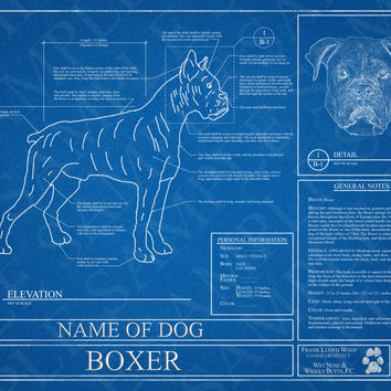 Customized Boxer Dog Blueprint / Boxer Dog Art / Boxer Dog Wall Art / Boxer Dog Poster / Boxer Dog Print