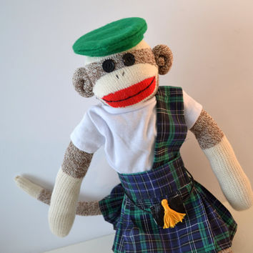 Irish Kilt Sock Monkey - St Patrick's Day Lucky Classic Look with Green Beret & Blue Green Plaid Kilt Matching Scarf and Tee