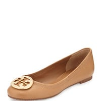 Tory Burch Reva Leather Ballerina Flat, Tan LAVELIQ