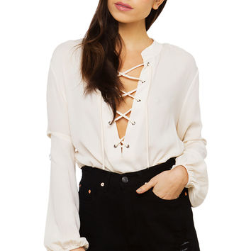 In The End Flowy Lace Up Top - White