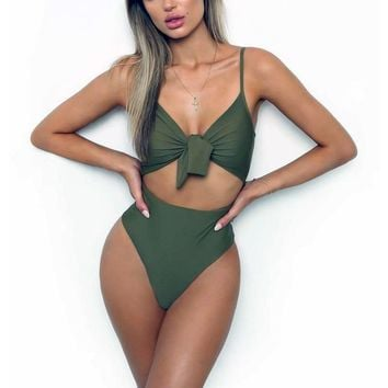 2018 Sexy Push Up Swimwear Women One Piece Swimsuit Knotted Bodysuit High Cut Monokini High Waist Bathing Suit Female Beachwear