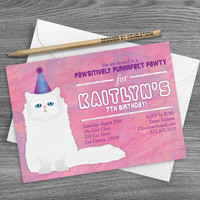 Cat Birthday Invitation For Kids, Pink Birthday Invite, Persian Cat Invite, Cat Party Invitation, Pet Invitation, Printable Kitty Invitation