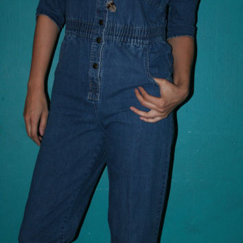 90s VINTAGE GRUNGE COVERALLS / Jean Playsuit /Hipster Denim Jumpsuit/ Normcore Coveralls