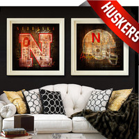 Nebraska Cornhuskers Vintage City Maps - 2 Combo Prints (Black Background)