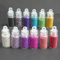 12 Assorted Colors, Micro Caviar Glass Beads, fake sugar sprinkles, topping, miniature fake food deco, nail art, DIY, crafts