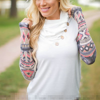 White Tribal Print Turtleneck Sweater