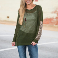 Shine Arts Top, Olive