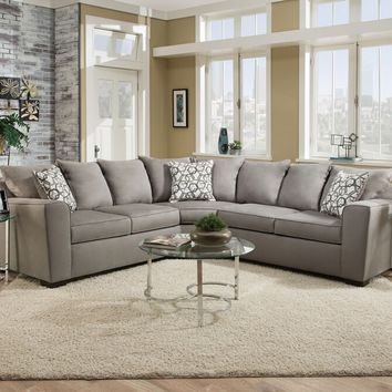 Acme 53830 2 pc venture smoke fabric sectional sofa with squared arms