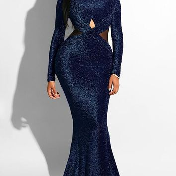 New Navy Blue Cross Bright Wire Backless Bodycon Mermaid Long Sleeve Elegant Formal Maxi Dress