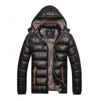 Solid Hooded Men's Winter Jackets Casual Parkas Men Coats Thick Thermal Shiny Coats Slim Fit Brand Clothing