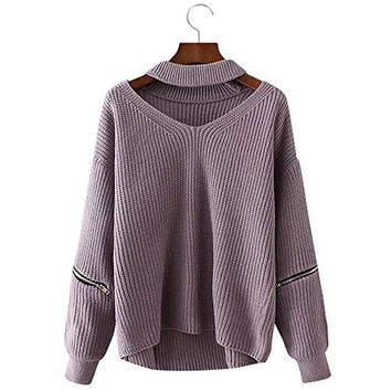 BeautyGal Women Halter Loose Knitted Chunky Choker Pullover Sweater