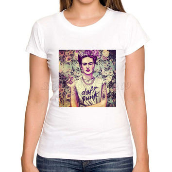 Asian Size women funny tee shirts Smoking Frida Kahlo retro printed lady t shirt short sleeve casual slim fashion tops for girls