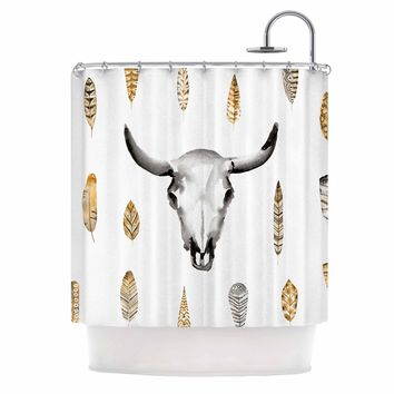 Steer - White Gold Tribal Watercolor Shower Curtain