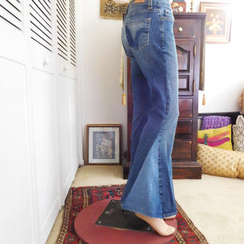 Upcycled Jeans Bell Bottoms Hippie Jeans Festival Clothing Denim Jeans Hippie Clothes 70s Style Hippie Pants Bohemian Clothes Indie Clothing