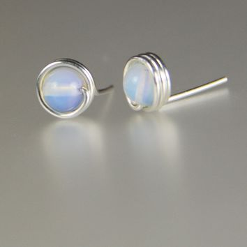 Sterling silver Moonstone wire stud earrings  Bridesmaid gifts Free US Shipping handmade Anni designs