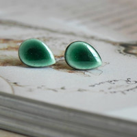 Green Drop Stud Earrings Minimalist Peacock Ceramic Post Earrings Hypoallergenic