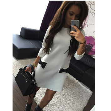 Mini Bows with Three Quarter Sleeves Solid Dress