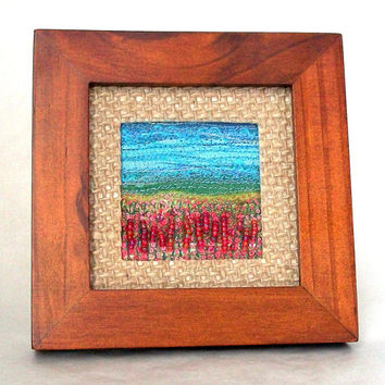 "Framed fibre art - Summer meadow - fabric & fibre landscape - embroidered and beaded needlework art - 4"" square frame - framed textile art"