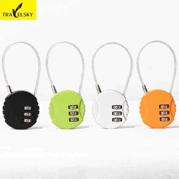Travelsky Brand Travel Luggage lock 3 digit combination suitcase locks anti-theft password metal lock long steel wire rope