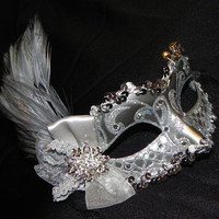 Silver Feather Masquerade Mask - Made to Order