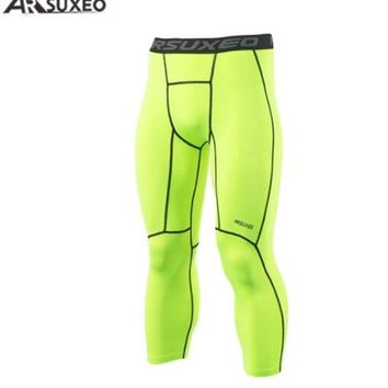 ARSUXEO Men's Sports Compression Tights Running Tights Run Fitness Active Training Exercise Compression PantShort 3/4