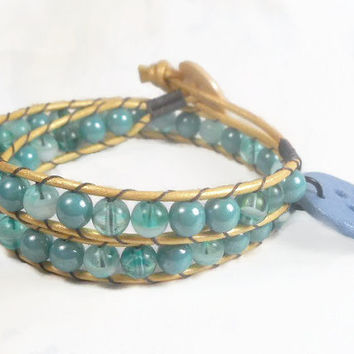 Beaded Wrap Bracelet Blue Beads with Smiley Face Charm