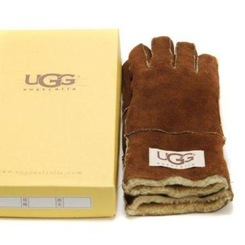 LMFON UGG Gloves Winter Woman Men Mittens Velvet Fur Gloves