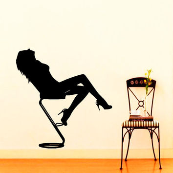 Wall Vinyl Decal Sticker Girl on Chair Beauty Salon Art Design room picture elegancy hall wall Chu1182
