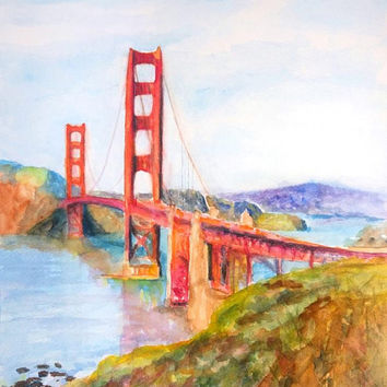 Golden Gate Bridge, ORIGINAL Watercolor Painting, 11x14, San Francisco, California, Bay Area, Coastal, Impressionism, Presidio, SF wall art