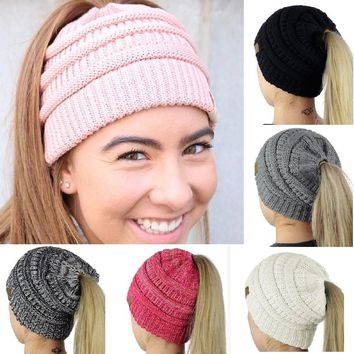 Newest Winter Warm Slouch female Girls Knit slouchy sport hat Ponytail Beanie